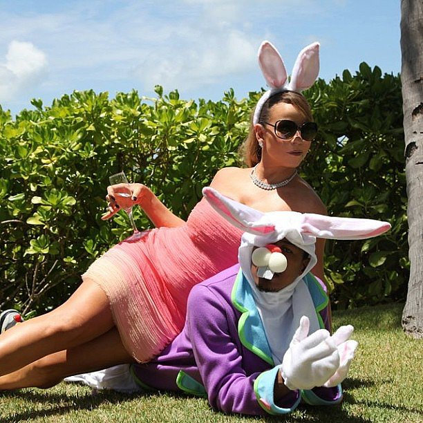 Nick Cannon and Mariah Carey got into the Easter spirit in bunny ears.  Source: Instagram user mariahcarey