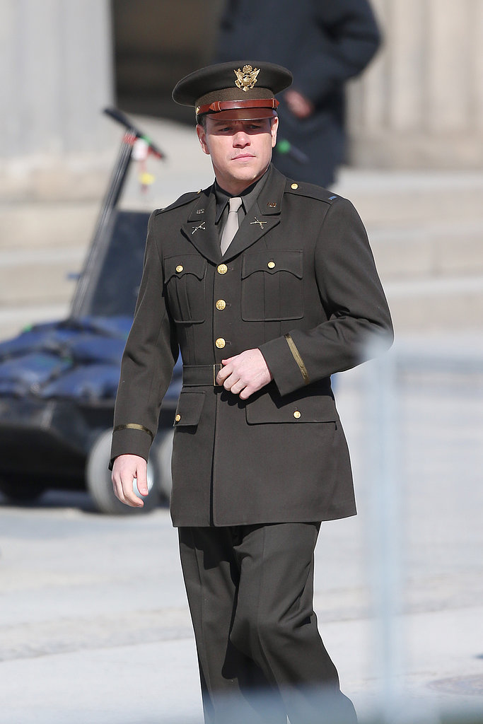 Matt Damon on the set of The Monuments Men.