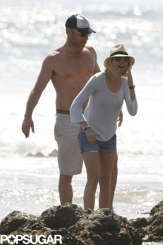 Naomi Watts and Liev Schreiber had a laugh while on the beach in Malibu in March.