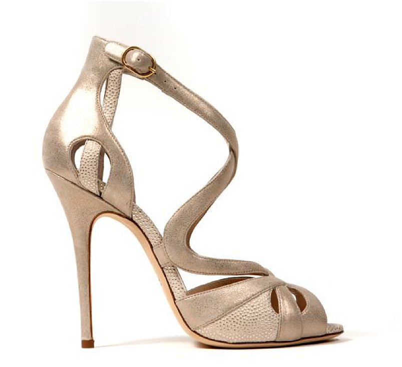 Monique Lhuillier Pale Gold Burma/Piper Combo Sandal ($895)