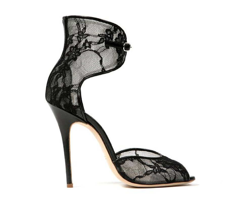 Monique Lhuillier Black Lace Over Mesh Sandal ($795)