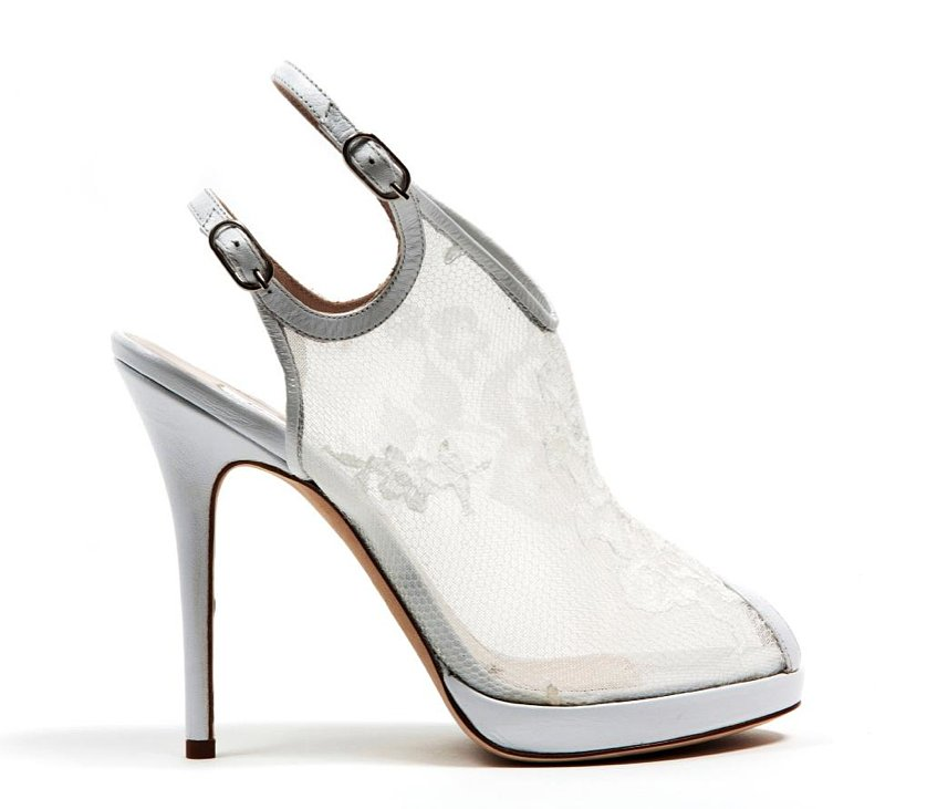 Monique Lhuillier White Lace Over Mesh Sandal ($875)