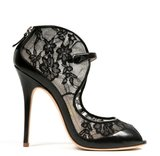 Monique Lhuillier Black Lace Over Nude Mesh Sandal ($875)