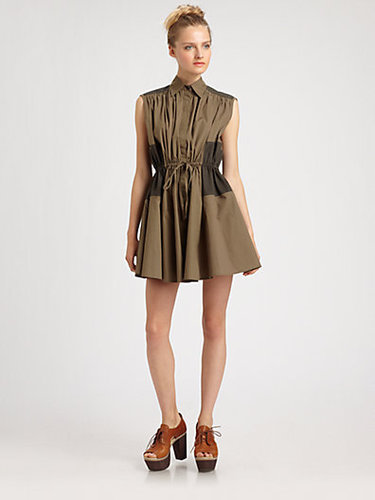 Thakoon Addition Two-Tone Cotton Shirtdress