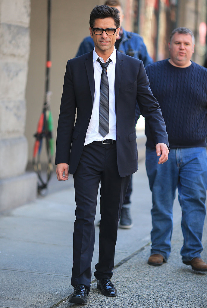John Stamos took a break from filming the TV pilot for I Am Victor in Vancouver on Monday.