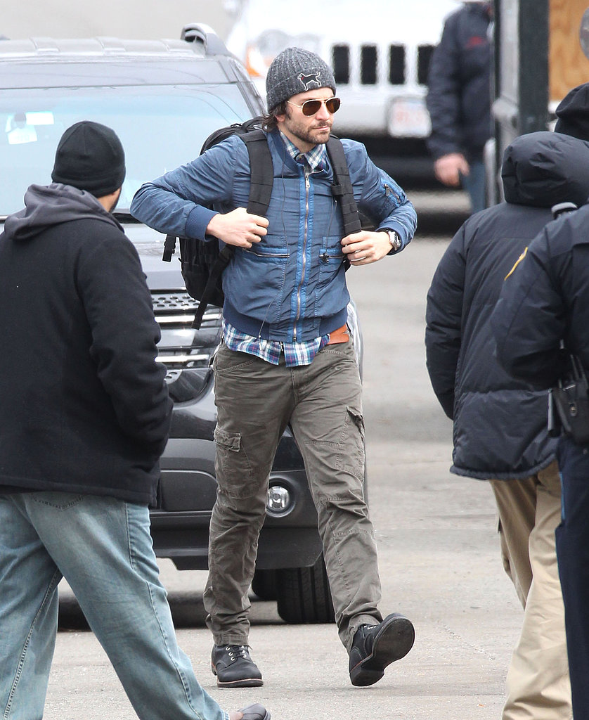 Bradley Cooper sported a backpack Monday on the set of David O. Russell's new project in Boston.