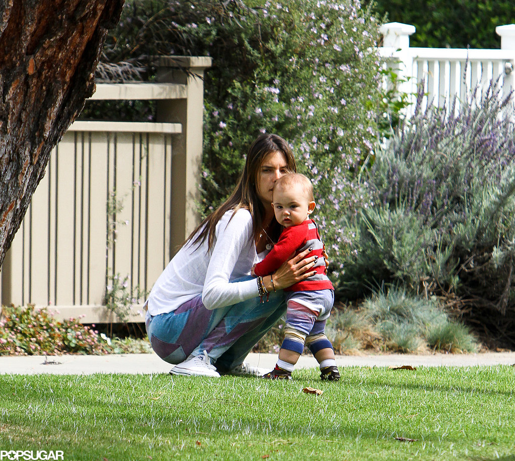 Alessandra Ambrosio Showers Adorable Noah in Kisses