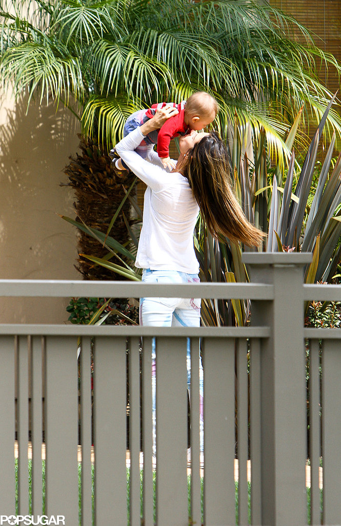 Alessandra Ambrosio kissed her son, Noah Mazur, in LA in March 2013.