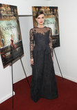 The actress chose a dark, floor-length Valentino gown to premiere Anna Karenina in NYC.