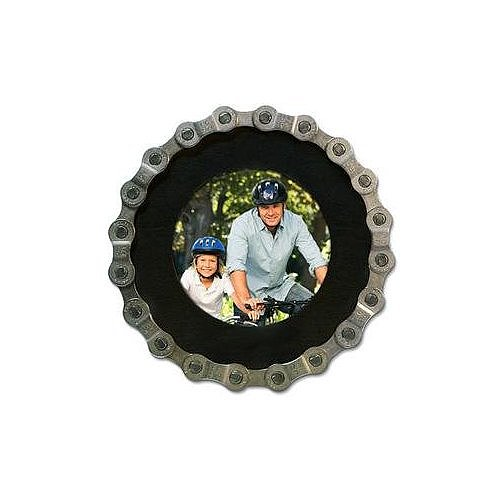 Put a photo from their first ride in this bike-chain picture frame ($18) for a special memento.