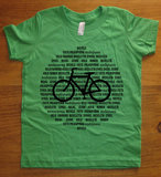 "This unique kids' bicycle shirt ($16), available in seven colors, highlights the word ""bicycle"" in 18 languages."
