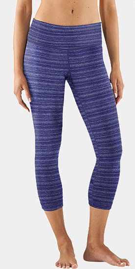 Striped blue Under Amour capris ($65) add a little welcome color and style without too much flash.