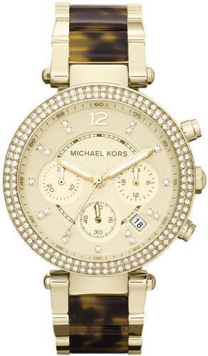Michael Kors  Mid-Size Golden Stainless Steel Parker Chronograph Glitz Watch