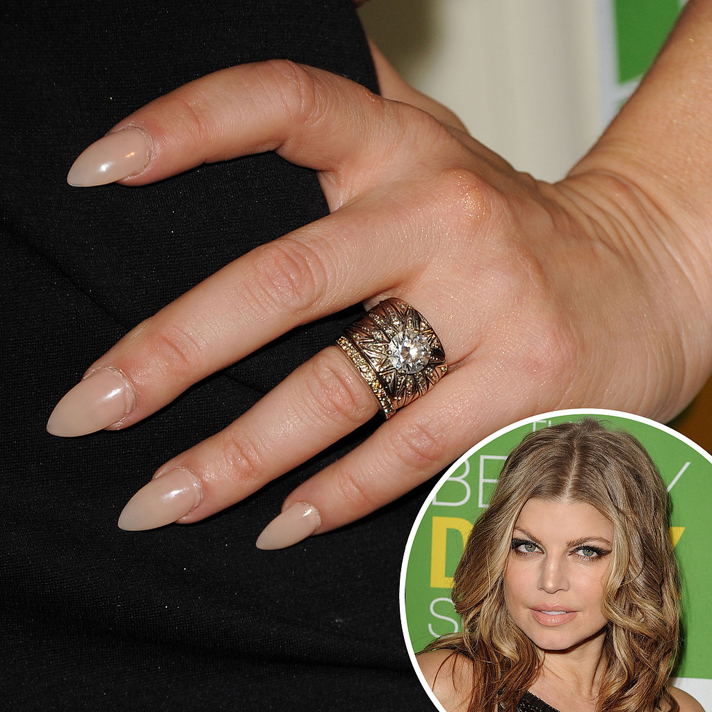 Fergie's nude manicure was far from boring at the Beauty Detox Solution launch party in 2011. The extreme almond shape gave the appearance of claws.