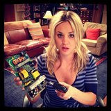 The Big Bang Theory's Kaley Cuoco claimed that she built that thing she's holding, but I have my doubts. Source: Instagram user kaleycuoco