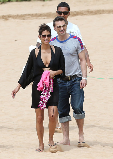 Halle Berry slipped into a black bikini for a family vacation in Hawaii with Olivier Martinez in March 2013.