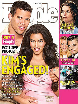 Kim Kardashian and Kris Humphries posed for the cover of People magazine in May 2011 to reveal their engagement.