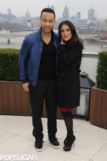 Salma Hayek and John Legend attended a Chime For Change photocall.