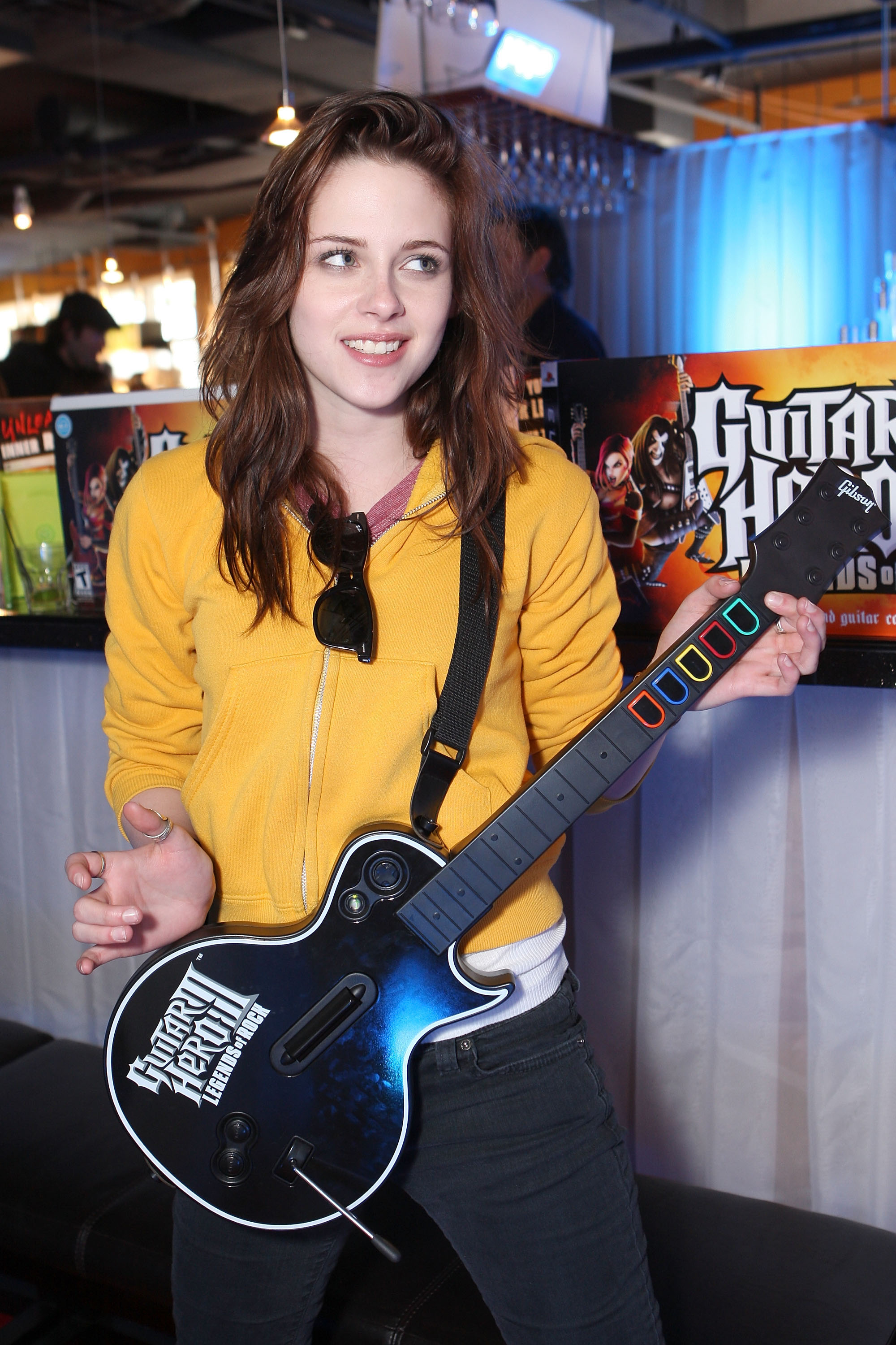 Kristen Stewart played Guitar Hero at a Fred Segal event in Park City, UT, in January 2008 during the Sundance Film Festival.