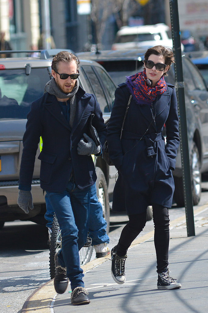 Anne Hathaway and Adam Shulman were on the go on a cold day in the city.