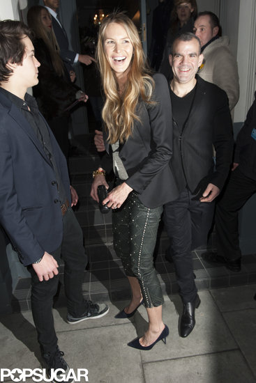 Elle Macpherson stepped out with a large diamond ring in London.
