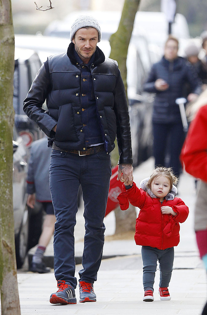 Harper Beckham showed off her walking skills for an outing in London with her dad, David Beckham, in March.