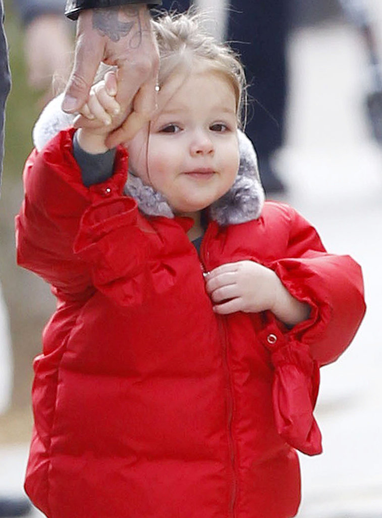 Harper Beckham wore a red puffy jacket in London.