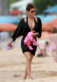 Halle Berry wore a cover-up over her black bikini.