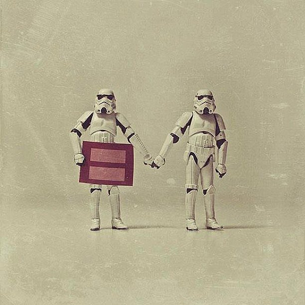 Stormtroopers share their thoughts.  Source: Instagram user ruesterbaby