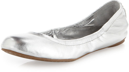 BCBGMAXAZRIA Molly1 Metallic Leather Ballet Flat, Silver