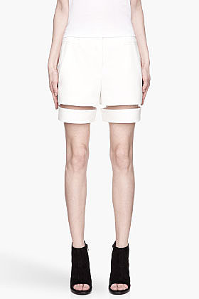 ALEXANDER WANG Ivory white fishline Boy Shorts