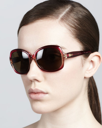 Kate Spade New York Carlene Rounded Polarized Sunglasses, Fuchsia