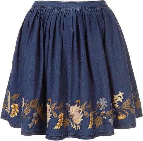 MOTO Embroidered Denim Skirt