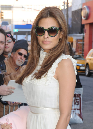 Eva Mendes stopped by The Daily Show With Jon Stewart in NYC.