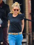 Sienna Miller ran out for lunch.