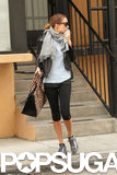 Nicole Richie carried a leopard bag leaving a workout in LA.