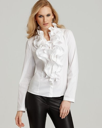 Women'S White Ruffle Front Blouse 45