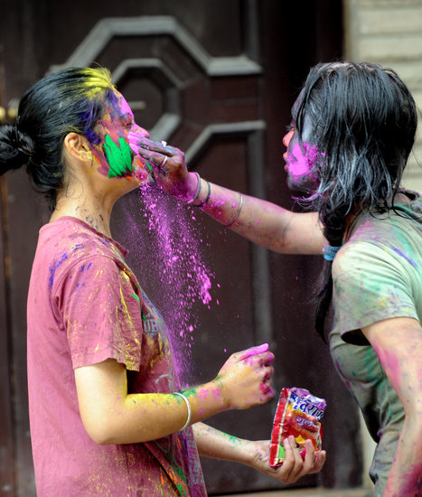 Two girls got into the Holi fun in New Delhi, India.