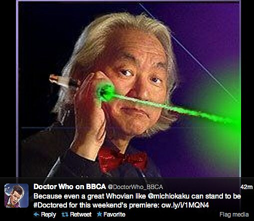 The official BBC America Doctor Who Twitter handle went on a wild #Doctored spree, equipping geek celebs such as physicist Michio Kaku and Grant Imahara of MythBusters with sonic screwdrivers and fezzes.