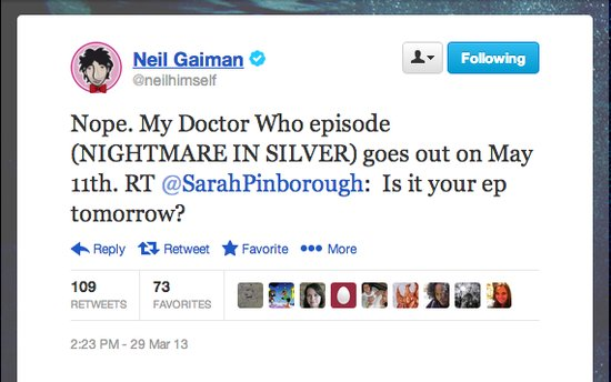 "Whovian PSA: ""Nightmare in Silver,"" written by Neil Gaiman, will air May 11."