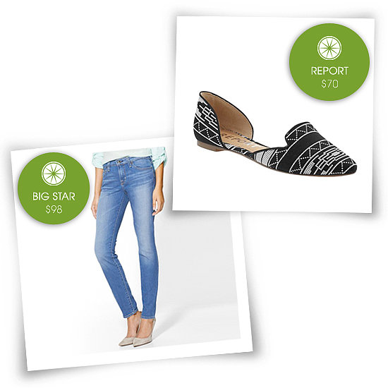 I personally love versatile, pointy flats. The textile prints on these from Report caught my eye. I'd pair them with cropped skinny jeans like these from Big Star.   See more Style Shortcuts