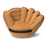 He can sit back in this baseball glove chair ($150) when he watches his favorite team play.