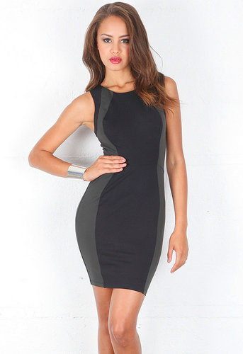Sleeveless Colorblock Mini Dress in Black/Grey/Black - by David Lerner