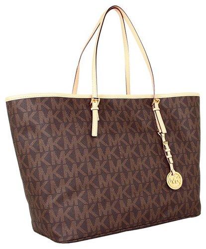 MICHAEL Michael Kors - Jet Set Travel Logo Medium Tote (Brown) - Bags and Luggage