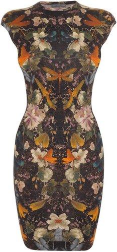 Floral Dragonfly Print Mini-Dress