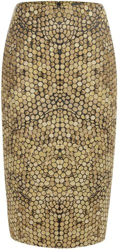 Gold Honeycomb Jacquard Pencil Skirt
