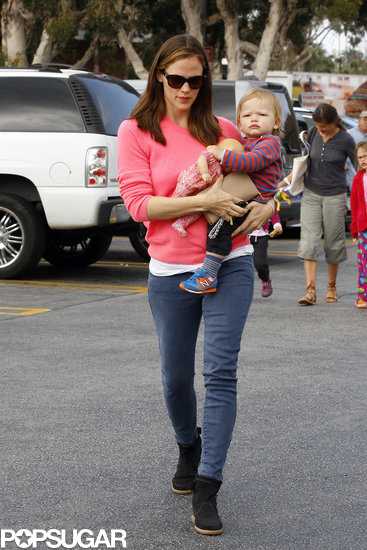 Jennifer Garner carried Samuel Affleck into a hardware store.