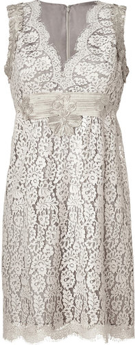 Anna Sui Silver-Grey Embroidered Botanic Lace Dress