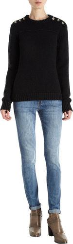 Barneys New York Button Shoulder Sweater