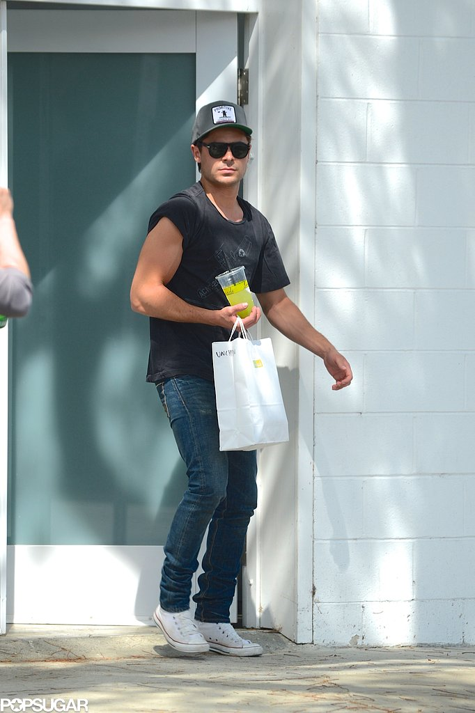 Zac Efron showed off his muscles on set in LA.